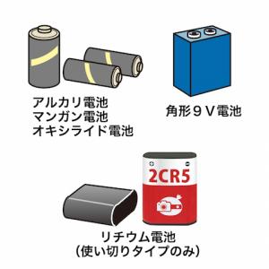 使用済み乾電池:アルカリ電池,マンガン電池,オキシライド電池,角形9V電池,リチウム電池(使い切りタイプのみ)